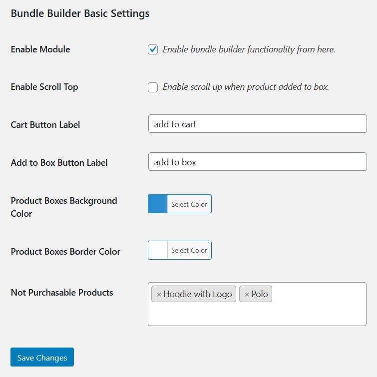 bundle builder for woocommerce general settings