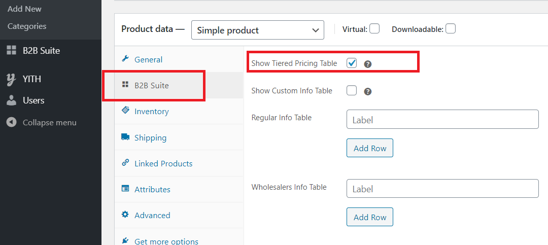 Show Tiered Pricing Table Checkbox