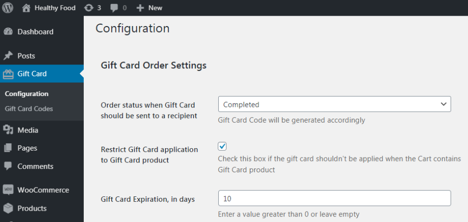 Configuration   Gift Card Order Settings