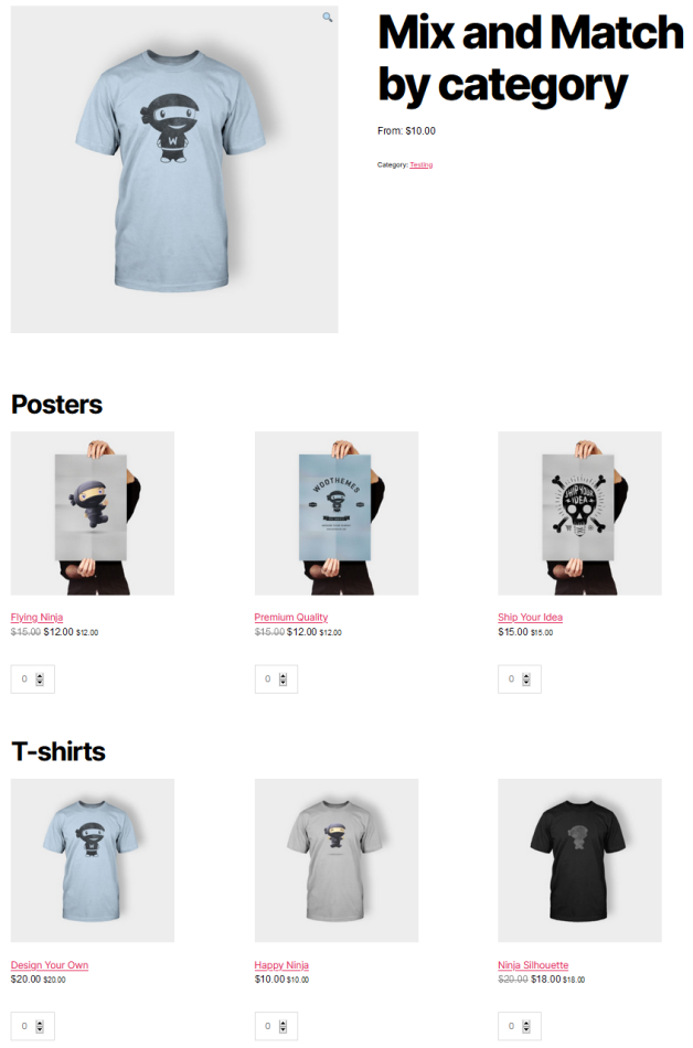 Mix and Match product showing 2 sections. 1st grid for Posters showing 3 posters and the 2nd for T-shirts showing 3 t-shirts.