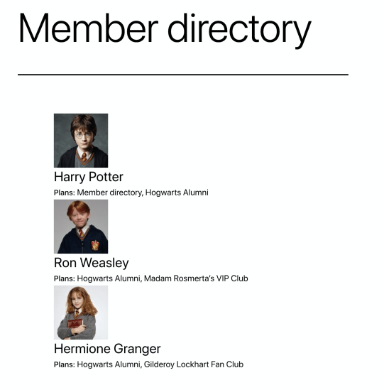 Example of membership directory shortcode on frontend