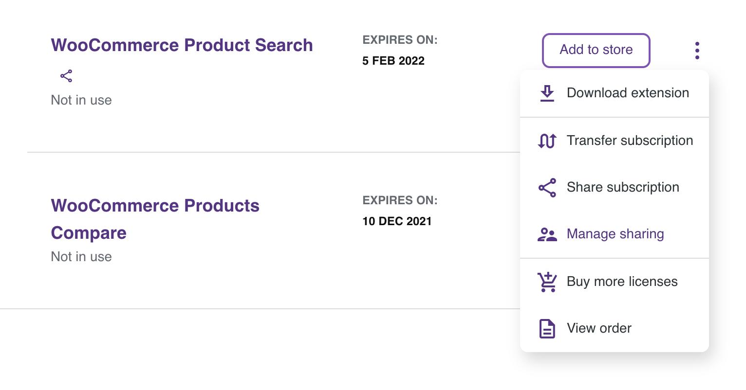 "Subscription menu, showing ""Manage sharing"" option."