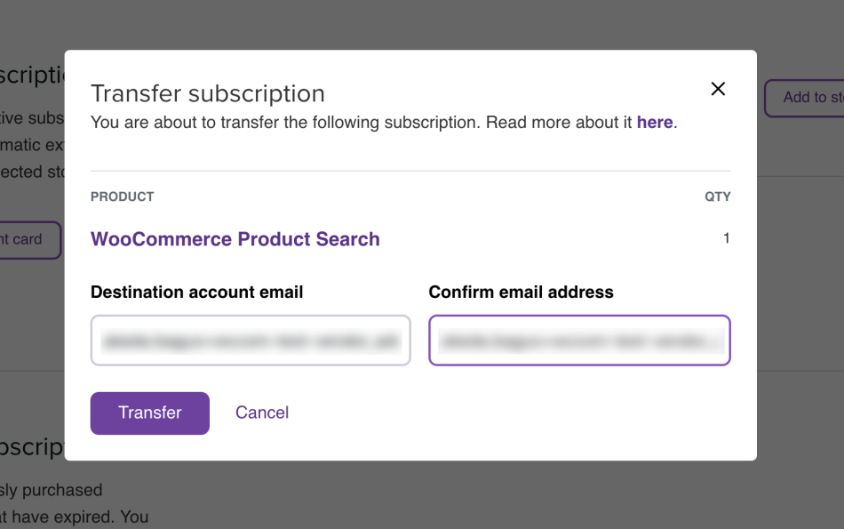 Transfer subscription dialog, with email address filled in.