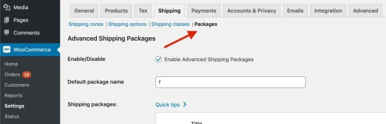 Advanced Shipping Packages settings ection