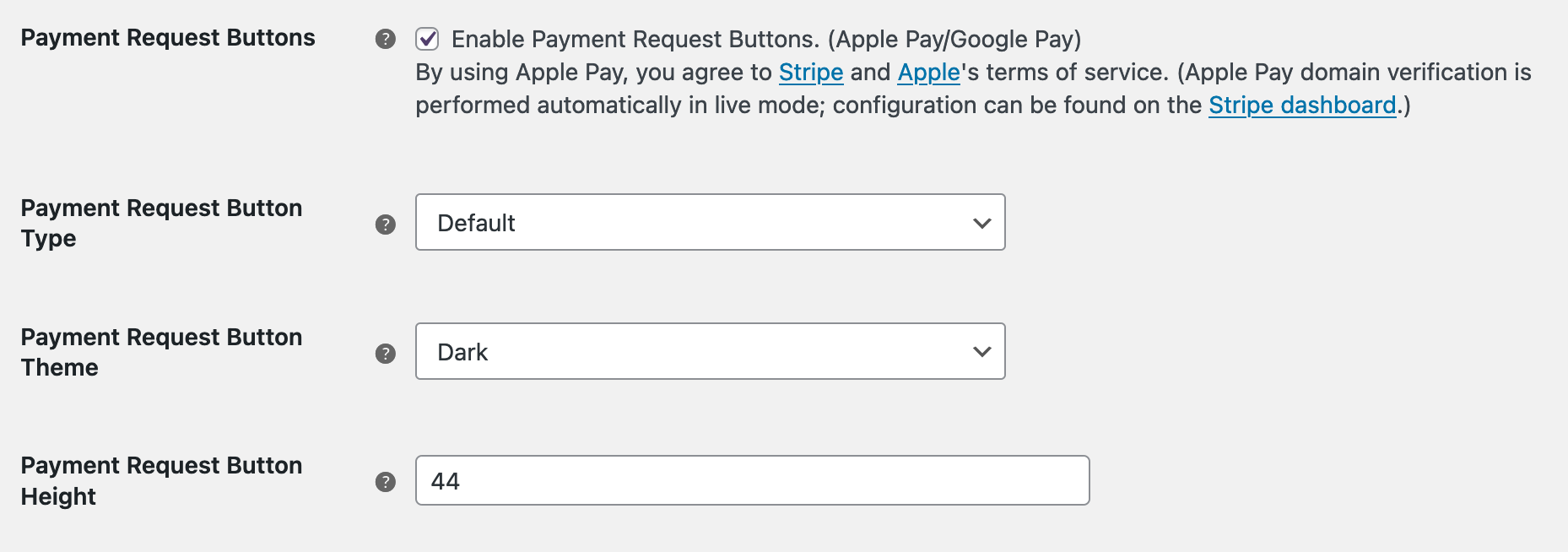 WooCommerce Stripe settings showing the Payment Request buttons setting section.