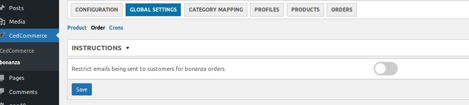 order tab