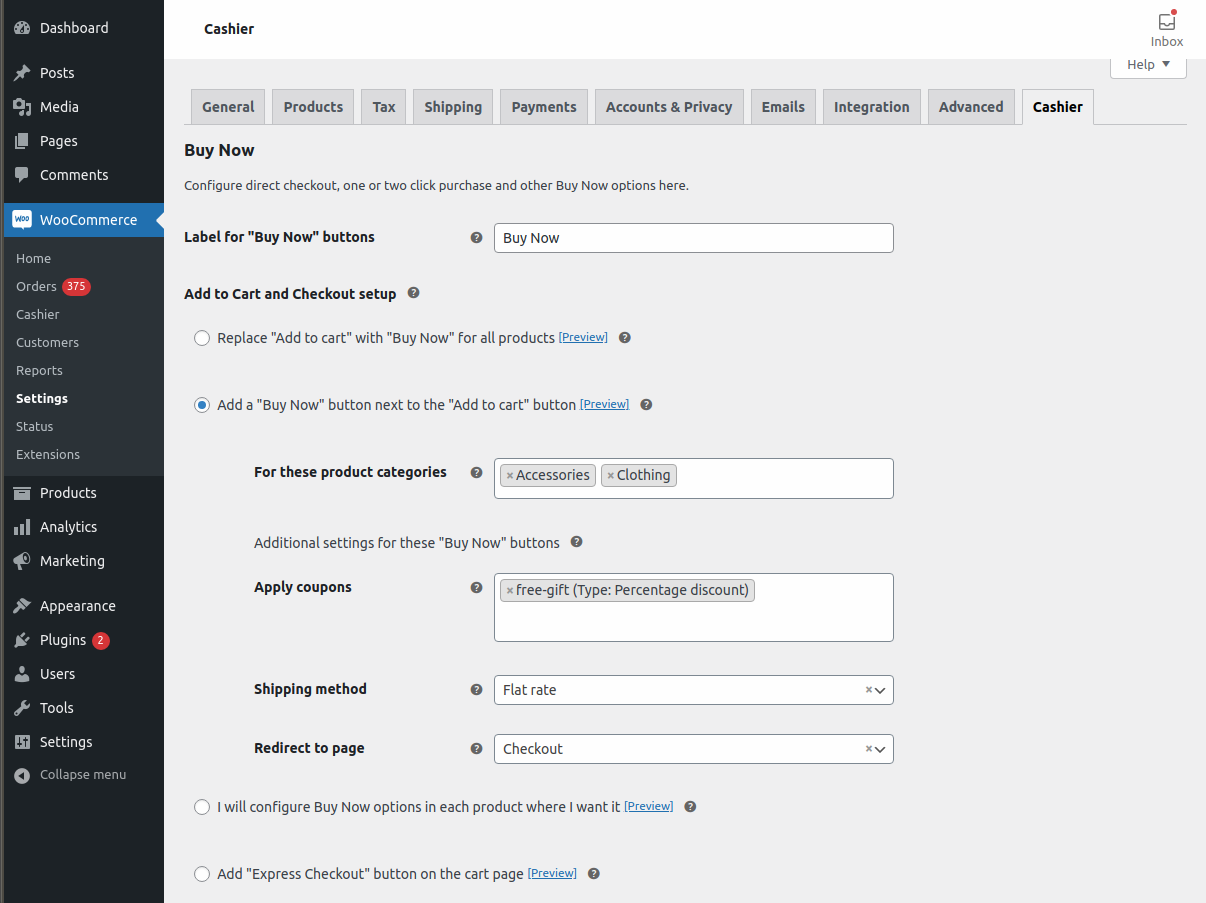 Enable direct checkout for product categories