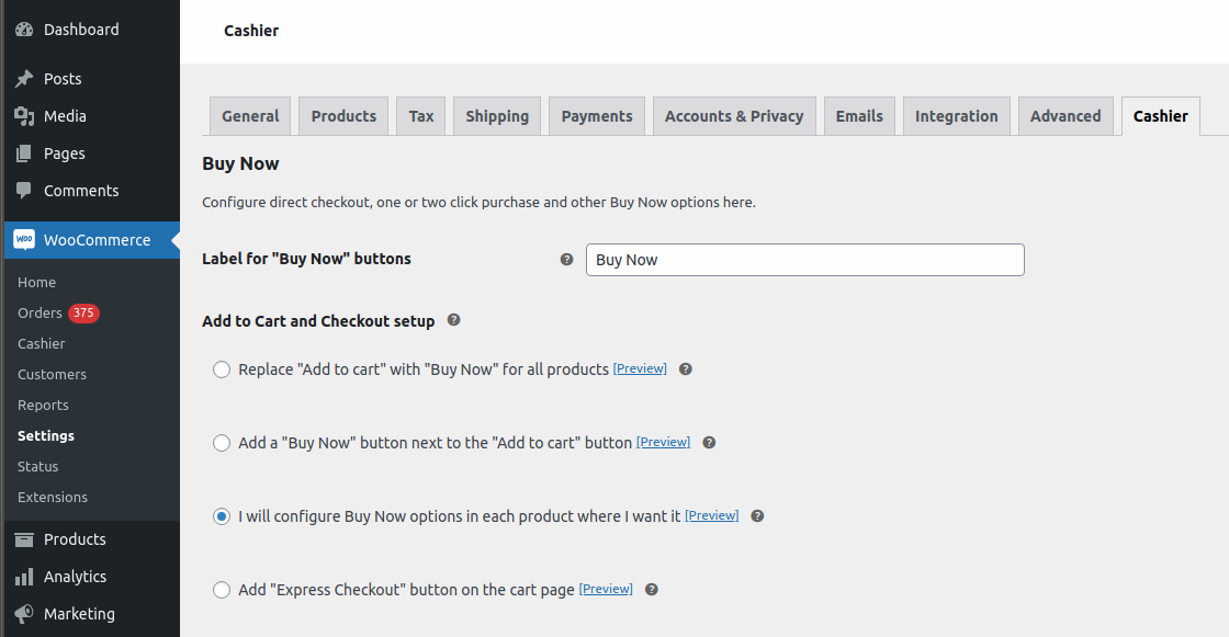 Enable direct checkout for specific products settings
