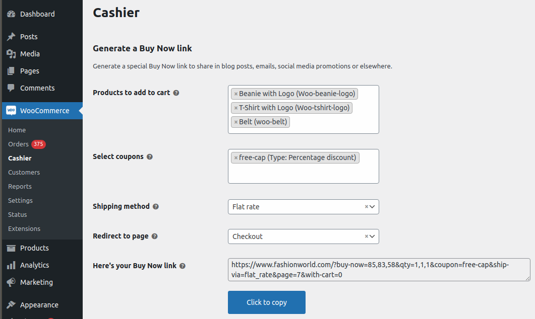 Enable direct checkout via email, social media using special Buy Now Links
