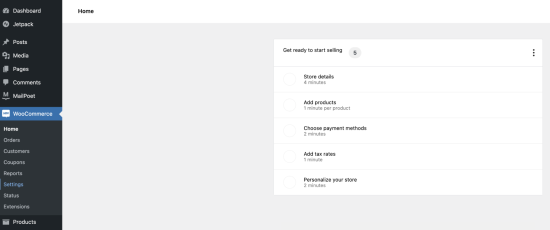 Image showing the location of the settings menu item in WooCommerce.