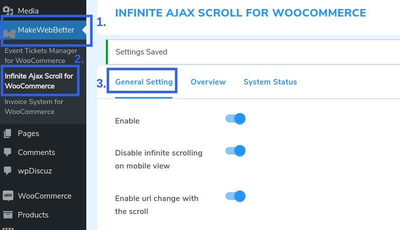 infinite ajax general settings