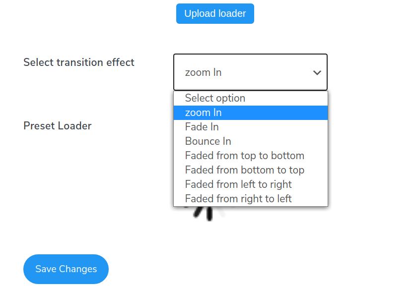 infinite scroll transition