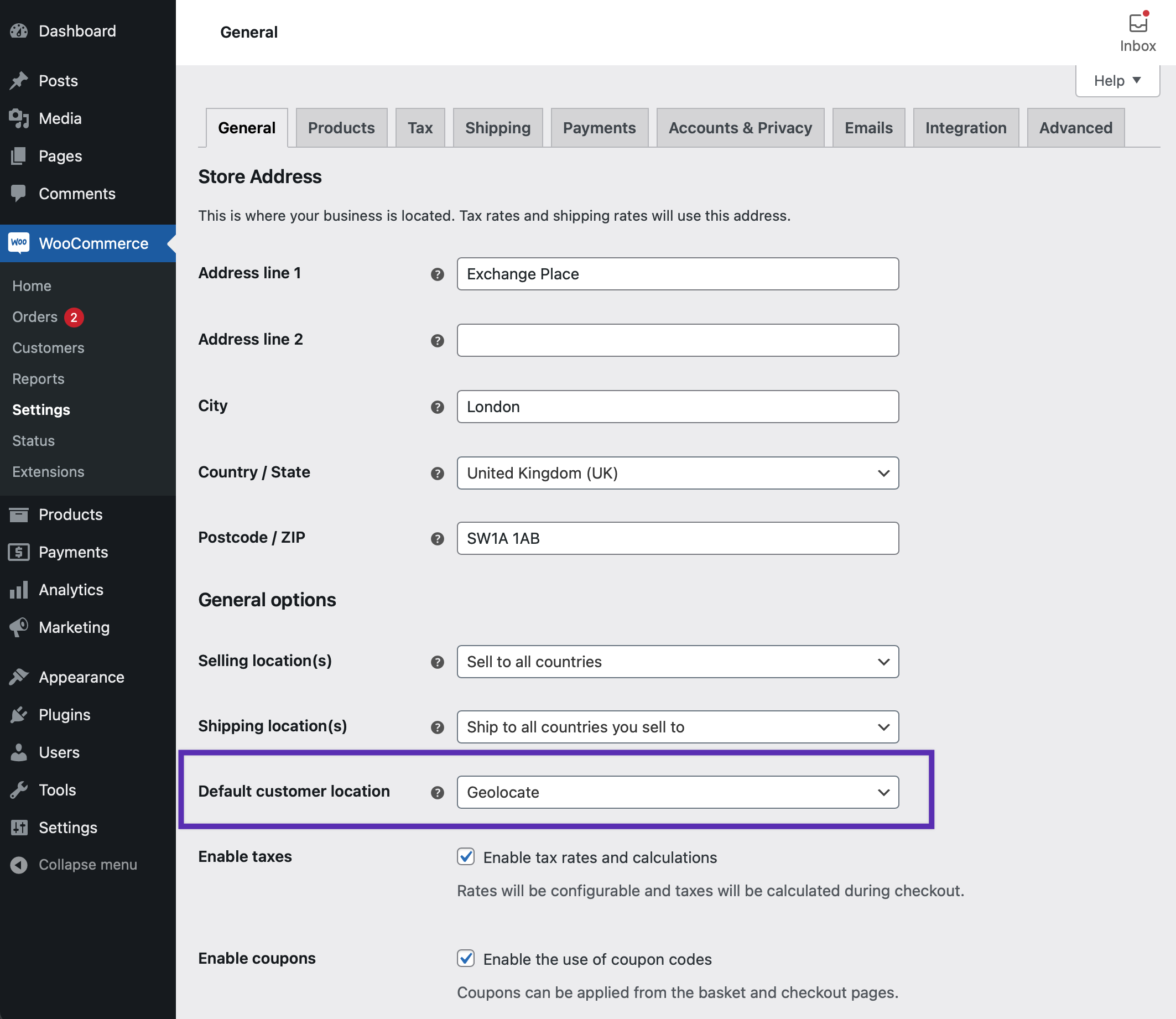 """WooCommerce General Settings with a highlighted box around the setting for Default customer location, """"Geolocate"""" is set"""