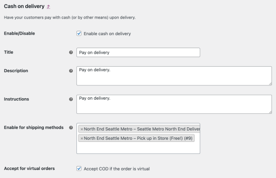 A detailed view of the Cash on delivery payment method. Sowing the Enable/Disable checkbox setting, and title, description, instruction, Enable for shipping methods text fields, and the Accept for virtual orders checkbox setting.