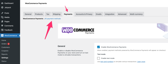 Showing the Payments tab that is accessible via WooCommerce > Settings > Payments > All payment methods.