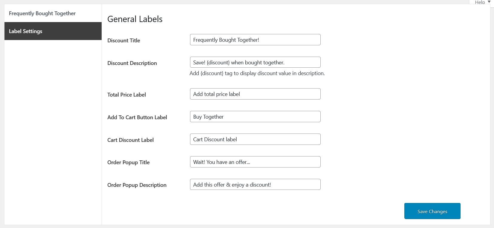 sale booster label settings